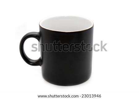 Empty big black office mug isolated on white background - stock photo
