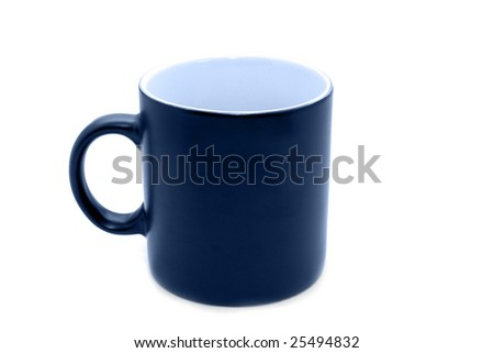 Empty big black office mug toned in blue isolated on white - stock photo