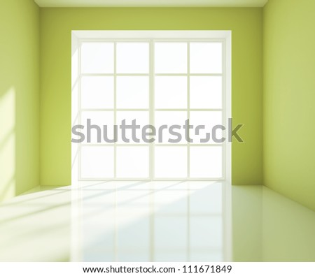 empty big green room with white window - stock photo