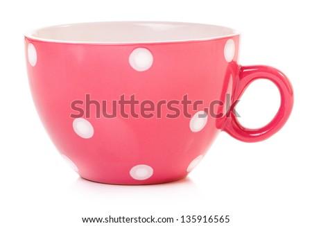 Empty big mug polka dot, isolated on white background - stock photo