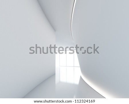 empty big white modern room with window