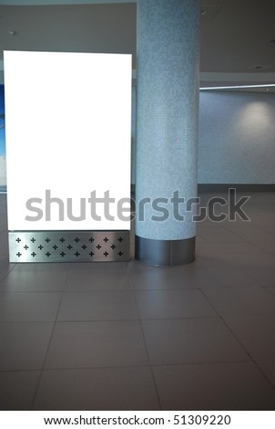 empty billboard at a international airport - stock photo