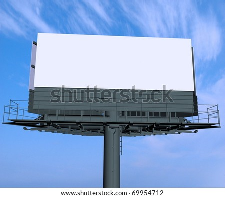 Empty billboard at sky background - stock photo
