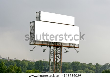 empty billboard in the sity for your ad - stock photo