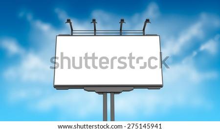 Empty billboard on blue sky - stock photo