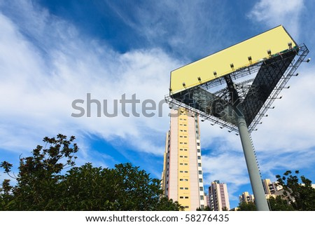 empty billboard on the sky background outdoor. - stock photo
