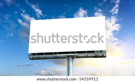 Empty Billboard (Road Sign)with Clear Sky - stock photo