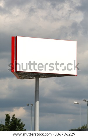 Empty billboard sign on a post