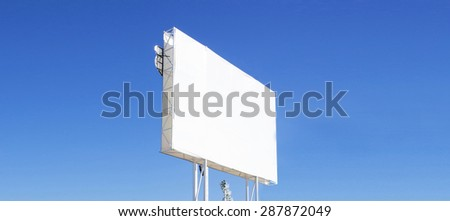 Empty billboard with blue sky. - stock photo