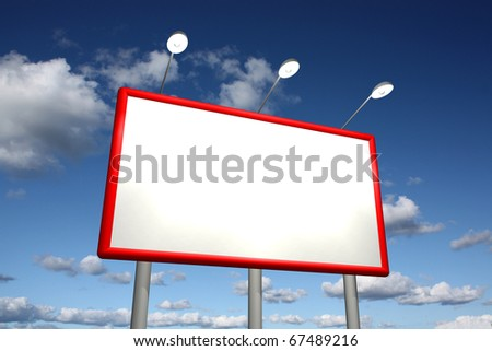 Empty billboard with sky background - stock photo