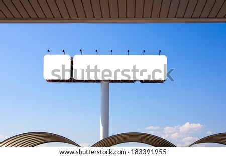 Empty billboard with white background - stock photo