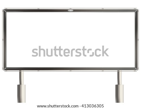 Empty billboard with white copy space on the white background. Raster illustration. - stock photo