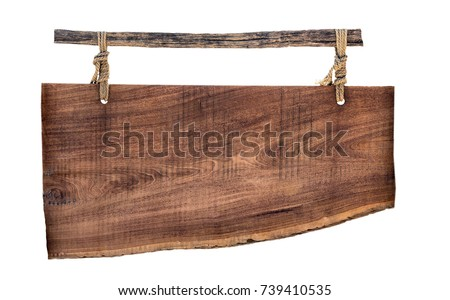 Empty billboard wooden on a rope isolated on white background