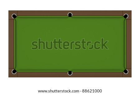 Empty billiard table with green cloth isolated on the white, the top view - stock photo