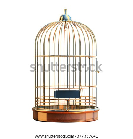 Empty Bird Golden Cage Isolated On White Background. Bird Cage Rustic Vintage Style. Bird Cage Icon. Golden Brass Metal Prison Concept. Prisoner. Symbol Of Freedom And Release.