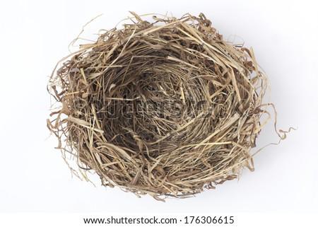 Empty bird nest on white - stock photo