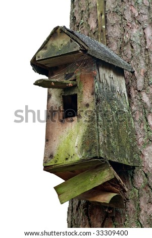 Empty birdhouse isolated on white