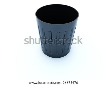 Empty black bin icon isolated on white - stock photo