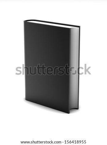 Empty black book illustration with blank black cover, perfect for book presentation.