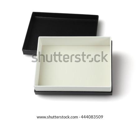 Empty Black gift Box on White Background - stock photo