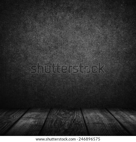 Empty black interior background - dark wall and floor - stock photo