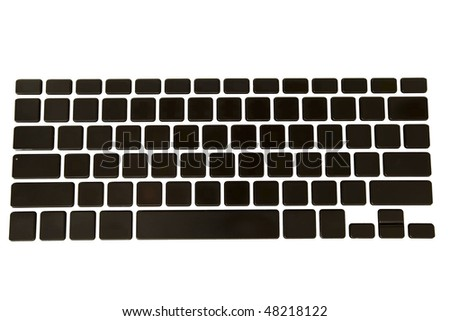 Empty black isolated keyboard with keys on a white background