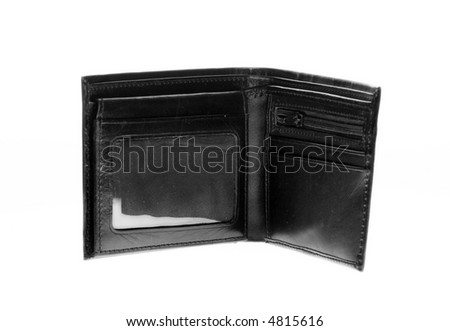 empty black leather wallet