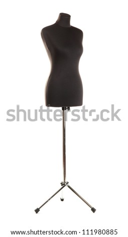 empty black mannequin isolated on white - stock photo