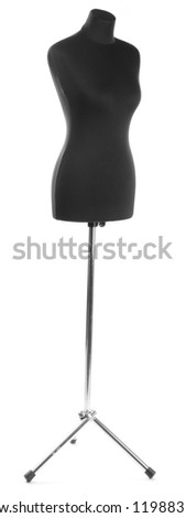 empty black mannequin isolated on white