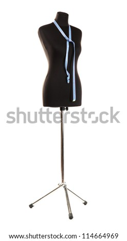 empty black mannequin with measuring tape isolated on white