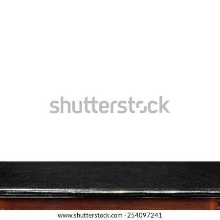 Empty black marble table top isolate on white background, Leave space for placement you background,Template mock up for display of product - stock photo