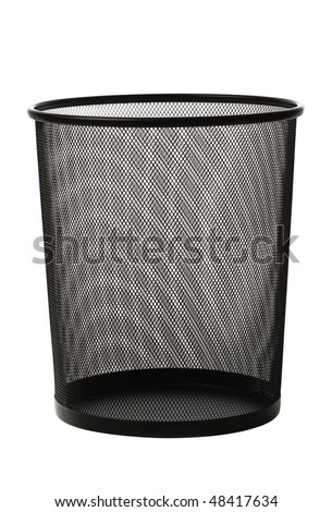 Empty black metallic office trash basket isolated on white - stock photo