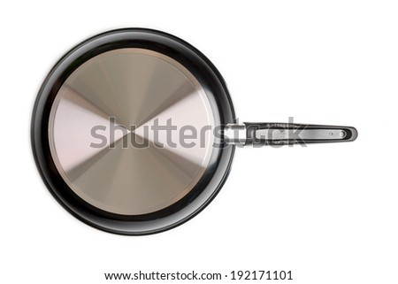 Empty black pan on isolated background, rear side.