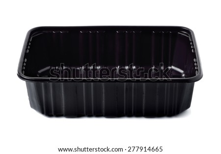 Empty black plastic container isolated on white - stock photo