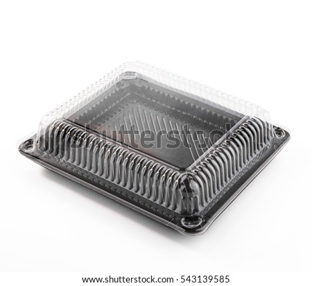Empty black plastic container with cap  on white background