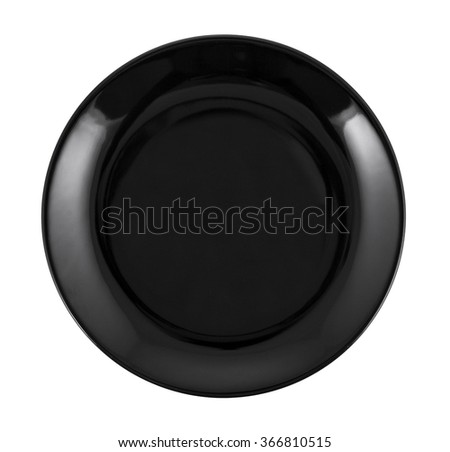 Empty black plate isolated on white.  - stock photo