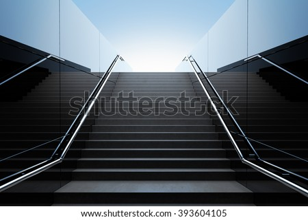 Empty black stairs in pedestrian subway. 3D Render - stock photo
