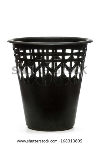Empty black wastebasket on white