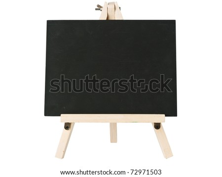 empty blackboard and tripod wooden - stock photo