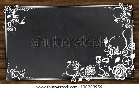 Empty Blackboard with Vintage Pattern and Clipping Path - stock photo