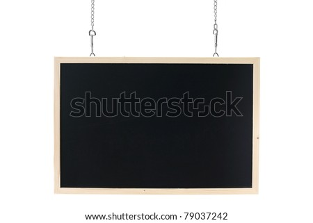 empty blackboard with wooden frame and chain - stock photo