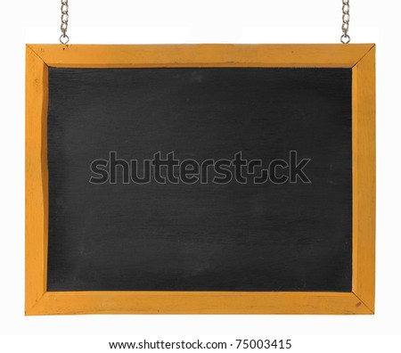 empty blackboard with wooden frame and chain. isolated over white - stock photo