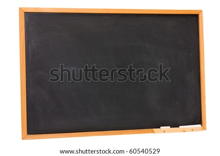 empty blackboard with wooden frame and chalks - stock photo