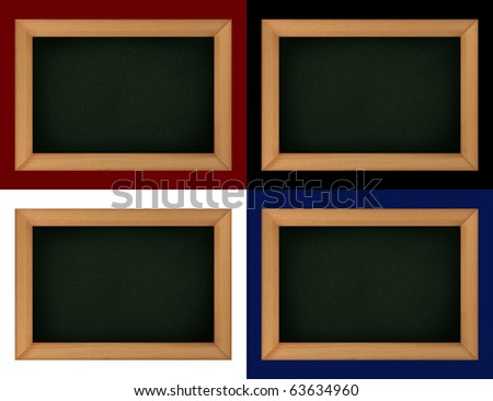 empty blackboard with wooden frame and choice of different background color - stock photo