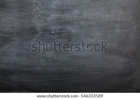 empty blackboard wooden framed soiled with dust of chalk rubbed and a broken chalk - suitable for copy space