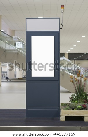 Empty blank billboard at airport ,train station,advertising public commercial,ready for new advertisement,selective focus - stock photo