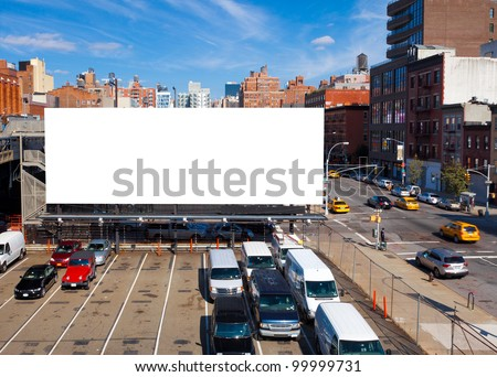 Empty blank billboard in New York City - stock photo