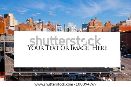 Empty blank billboard in New York City.  Urban city setting. - stock photo