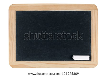 Empty blank black chalkboard or blackboard isolated on white background