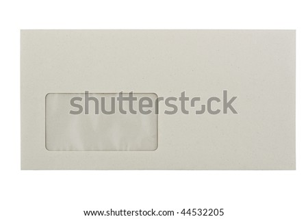 empty blank greyish Envelope with a window, isolated on white - stock photo